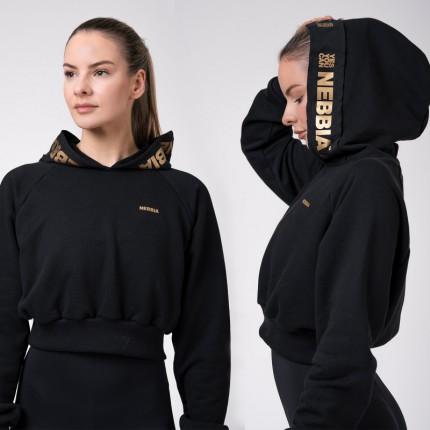 Női - NEBBIA - Crop női melegítő felső Golden 824 (black)