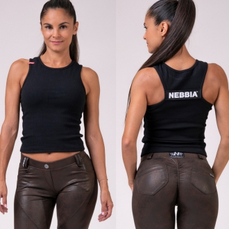 NEBBIA - Crop Top LABELS 516 (black)