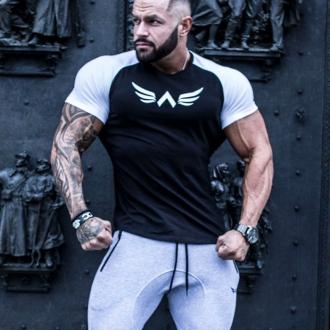 Exalted - Férfi fitness póló fehér ujjakkal X1 (Fekete)